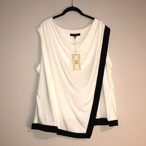 Women's  Plus Size Black & White Sleeveless Blouse